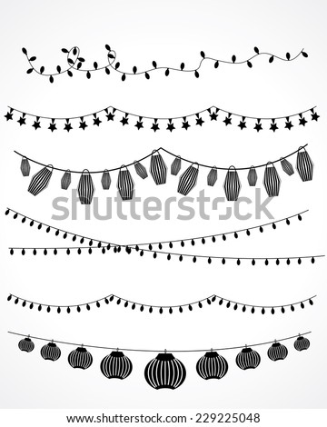 festive garland lights and Chinese lanterns. vector set - stock vector