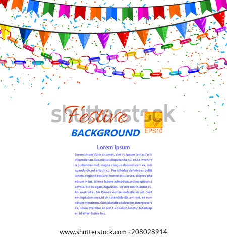 Festive garland, streamers and flags isolated on a white background. Vector illustration. - stock vector