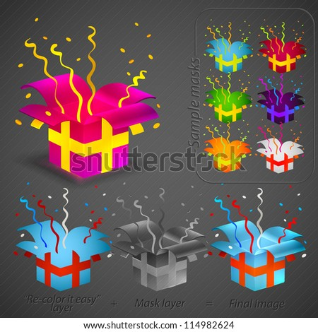 Festive gift box with colorful ribbon, serpentine and confetti eps10 vector icon constructor set: color and shadow layers separated - stock vector