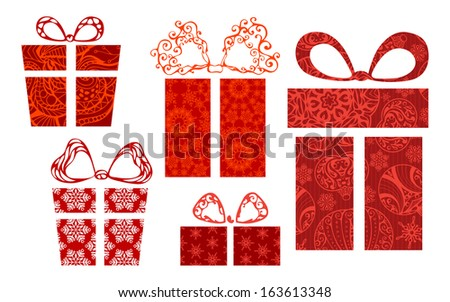 Festive gifts and bows. Five various red boxes for your design isolated on white background. EPS 8.