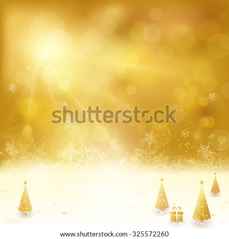 Festive golden background with stars, snowflakes, Christmas trees and gift. Out of focus light dots and light effects with light from above give it a festive and dreamy feeling. - stock vector