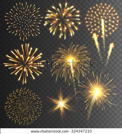 Festive Golden Firework Salute Burst on Transparent Background - stock vector