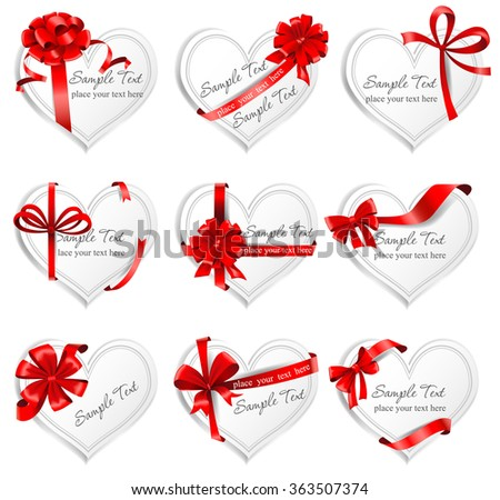 Festive heart-shaped  cards with red gift ribbons.  - stock vector