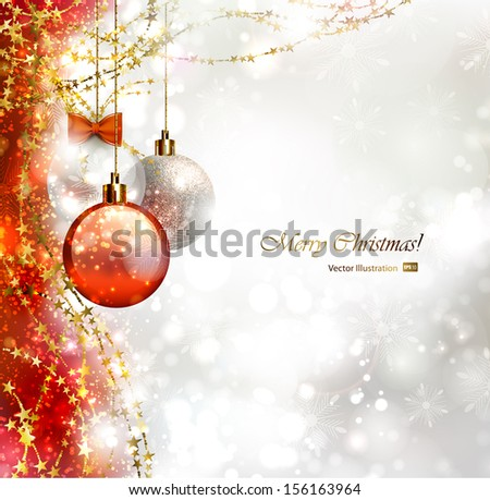 Festive holiday red and white background with three Christmas baubles - stock vector