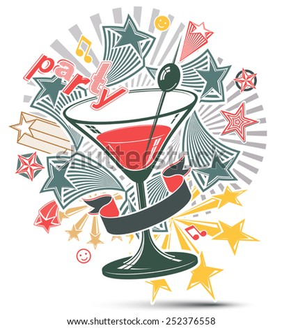 Festive illustration with musical notes and glass martini goblet with decorative stars. Party design elements easy to use separately. Lounge theme poster. - stock vector
