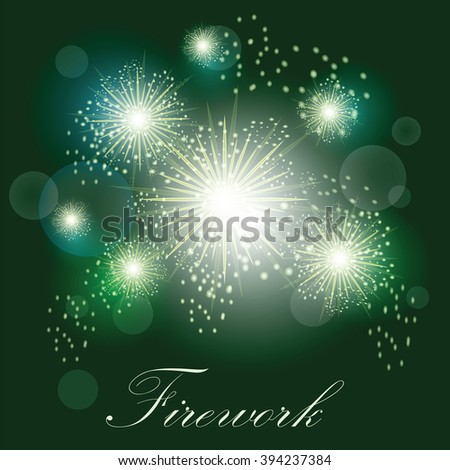 Festive light fireworks on dark green background with text