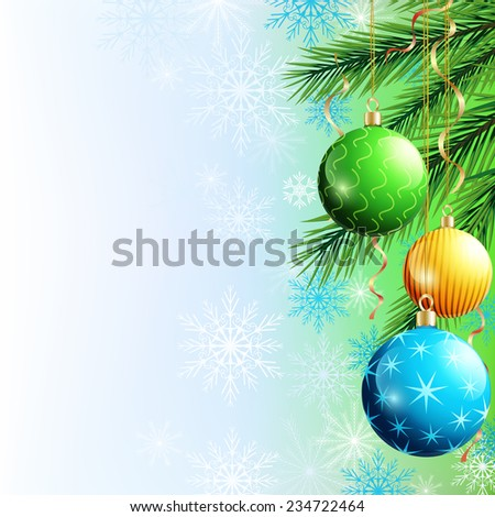 Festive luxury background with Christmas tree, christmas ball, garlands and snowflakes. New Year and Christmas celebratory card with place for text. Beautiful Christmas wallpaper. Vector illustration - stock vector