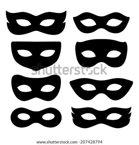festive masks silhouette in black on a white background - stock vector