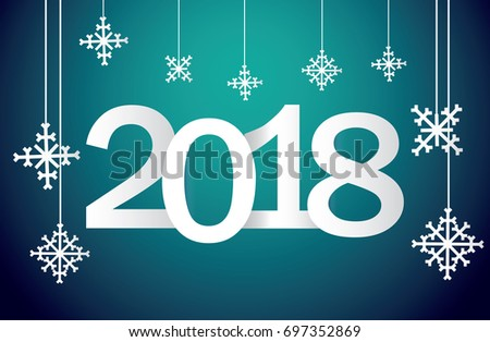 festive new years greetings from 2018 with snowflakes and a gradient background template of a