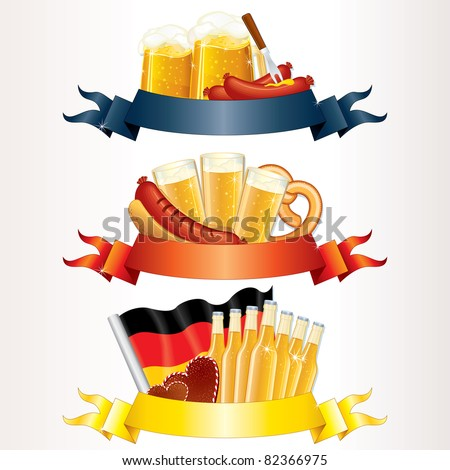Festive Oktoberfest Banners, Headers with Beer, Wurst, Flag and Pretzel. Ready for your text or design - stock vector