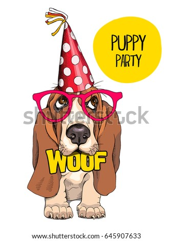 Festive Poster Puppy Bet Hound Party Stock Vector HD (Royalty ...