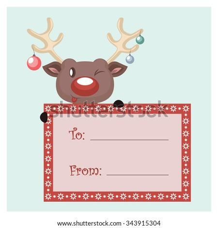 Festive reindeer present tag - stock vector