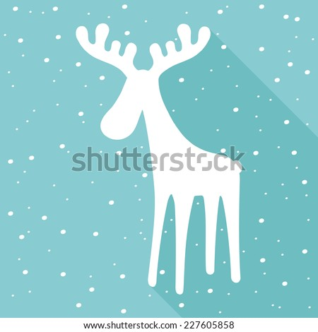 Festive reindeer silhouette. Christmas concept. Flat icon design. - stock vector