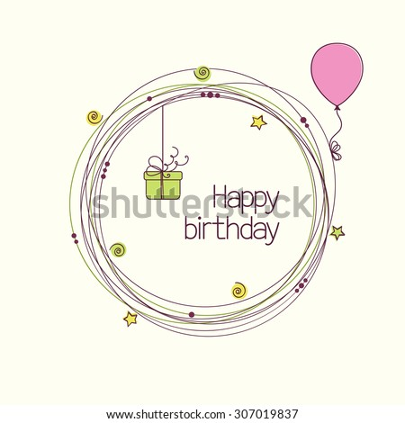 Festive round frame with gift box and balloon for birthday or other holiday greeting card