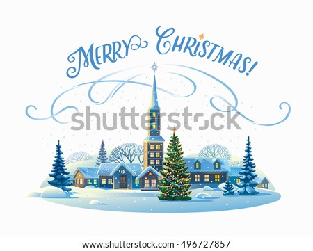 Festive rural landscape with winter village and Christmas trees.