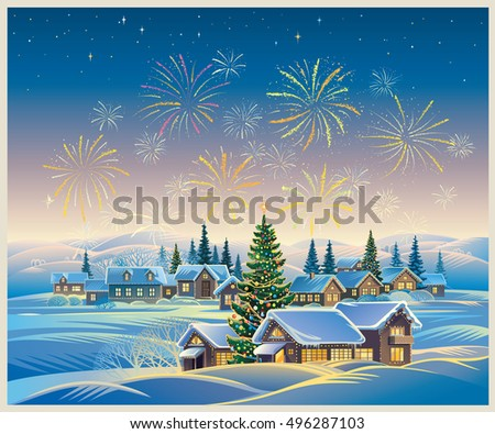 Festive rural landscape with winter village and Christmas trees and fireworks in the sky.