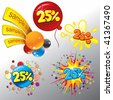 Festive Sale vector tags . Splash ,confetti,balloon, stickers,labels - stock vector
