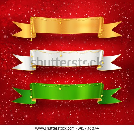 Festive satin ribbon banners with gold garland decoration on red grunge watercolor background with falling snow and light sparkles. - stock vector