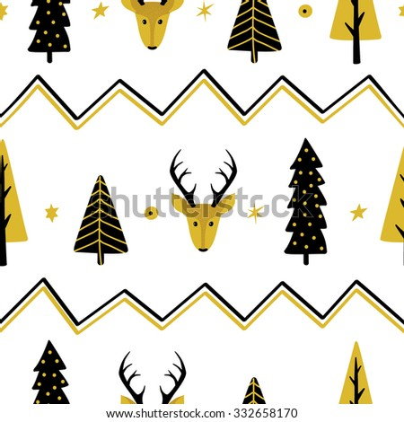 Festive seamless background with Christmas trees and deer - stock vector