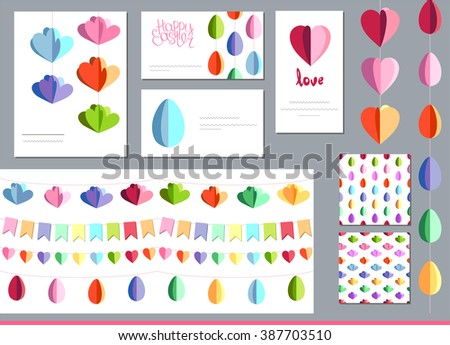 Festive set with hanging  eggs, flowers and hearts cut from paper.  Templates for your design, festive greeting cards,  announcements, posters. Endless pattern brushes. - stock vector