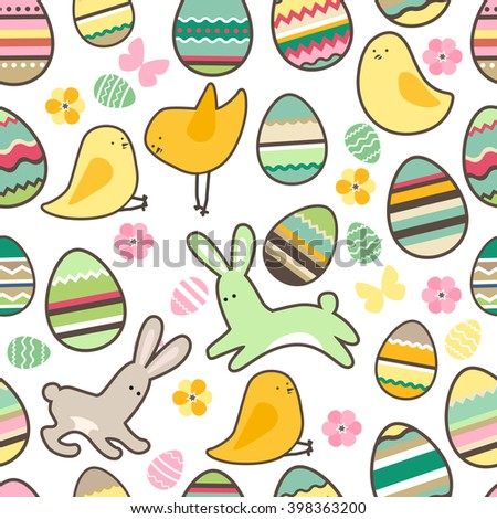 Festive spring seamless pattern. Endless texture with eggs and rabbits. For your design, greeting cards,  wrappings, fabrics, announcements.