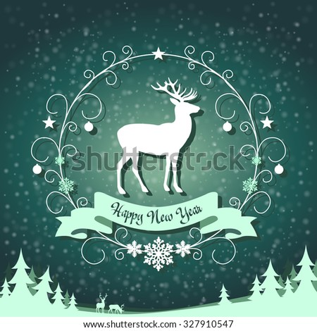 festive symbol in a frame with swirls on snowing background