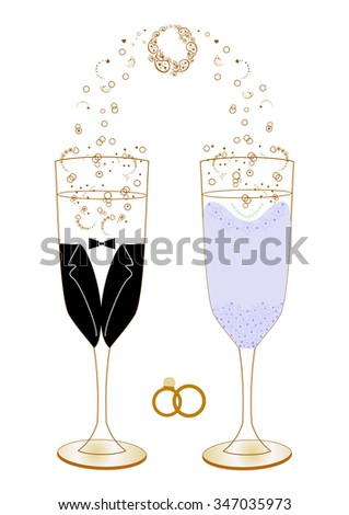 Festive wedding glasses with decor vector illustration