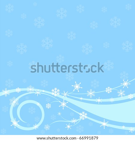 Festive winter background with snowflakes - stock vector