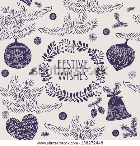 Festive Wishes Seamless Pattern - stock vector