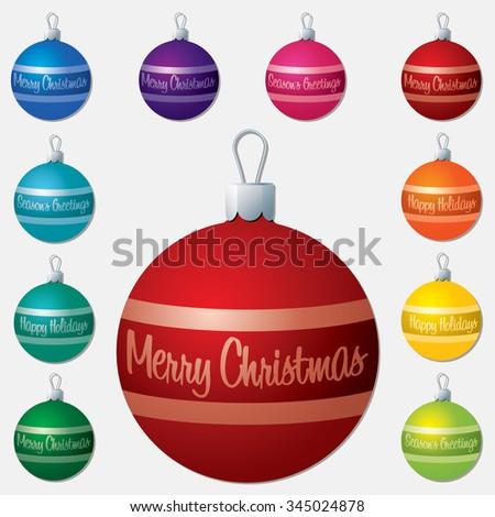 Festive words Christmas bauble set in vector format. - stock vector