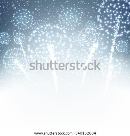 Festive xmas firework background. Vector illustration. - stock vector