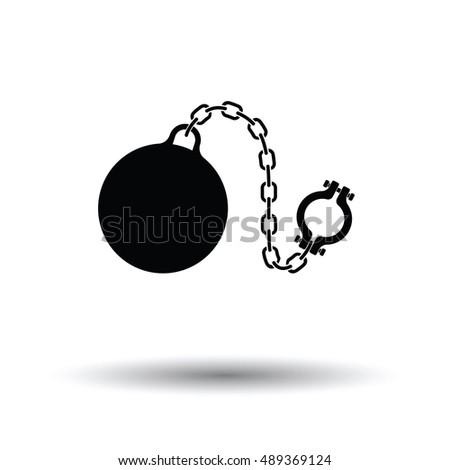 Fetter with ball icon. White background with shadow design. Vector illustration.