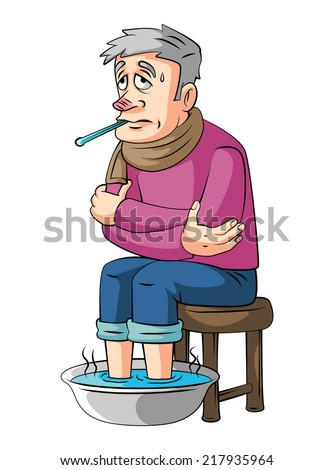 Fever old man - stock vector