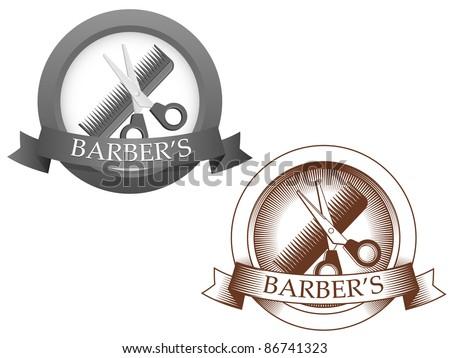 Fictional barbershop logo. Vector illustration. - stock vector