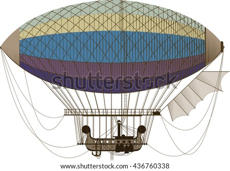 Fictional retro dirigible with basket passenger ladders and left wing on white background - stock vector