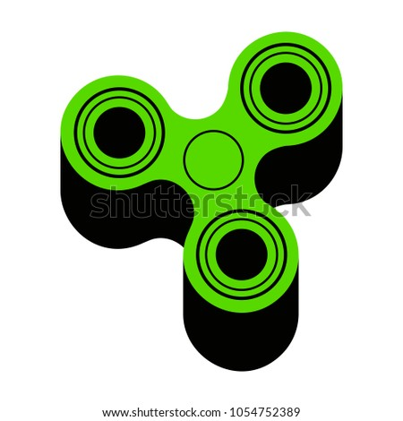 Fidget Spinner Sign Vector Green 3d Icon With Black Side On White Background