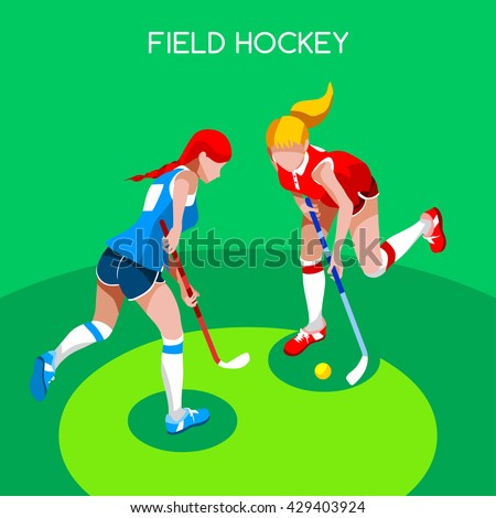 Field Hockey Girl Player 2016 Summer Games Icon Set.3D Isometric Field Hockey.Sporting Championship Female Field Hockey Match Competition.Sport Infographic olympics Field Hockey Vector Illustration. - stock vector