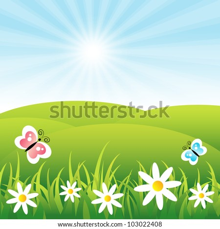 field with butterflies and flowers - stock vector