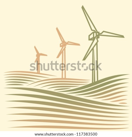field with Wind turbines generating electricity