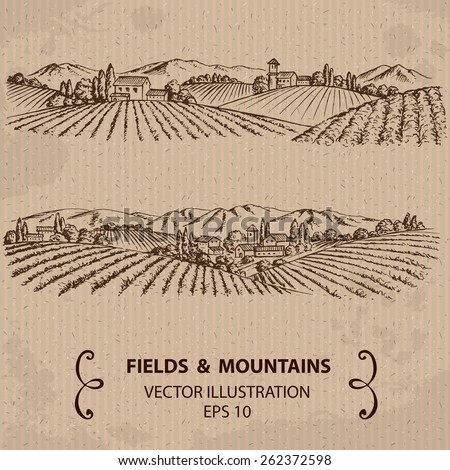 Fields and Mountains. Hand drawn Vector Illustration   - stock vector