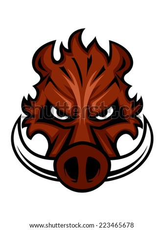 Fierce angry wild boar head with glaring eyes and curving tusks, cartoon vector illustration - stock vector