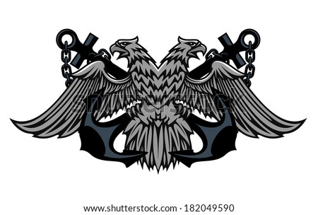 Fierce double headed Imperial eagle icon logo on crossed anchors with chains for heraldic design - stock vector