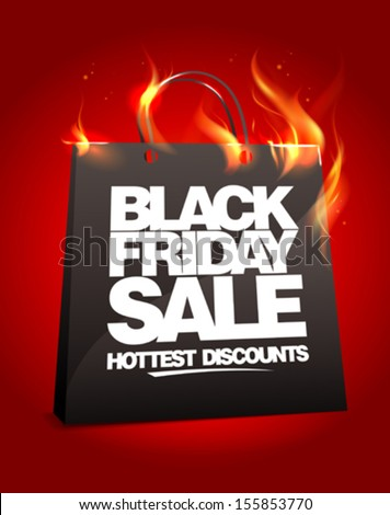 Fiery black friday sale design with shopping bag. Eps10. - stock vector