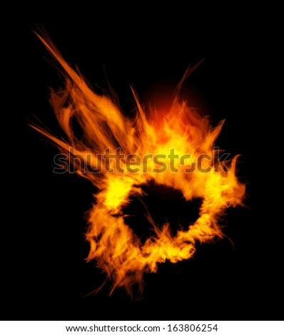 Fiery explosion on a black background. - stock vector
