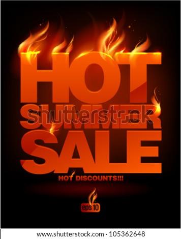 Fiery hot summer sale design template. Eps10 Vector. - stock vector