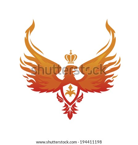 fiery phoenix with the Imperial crown on his head - stock vector