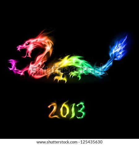 Fiery rainbow dragon. Illustration on black background for design - stock vector