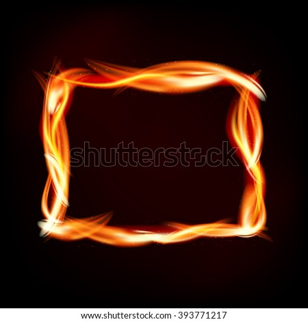 Fiery rectangle of flames on dark background - place for your message. Vector illustration.