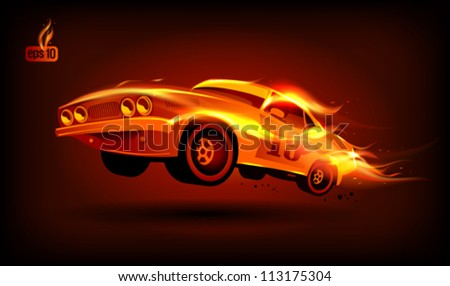 Fiery retro sports car design template. Eps10 Vector. - stock vector