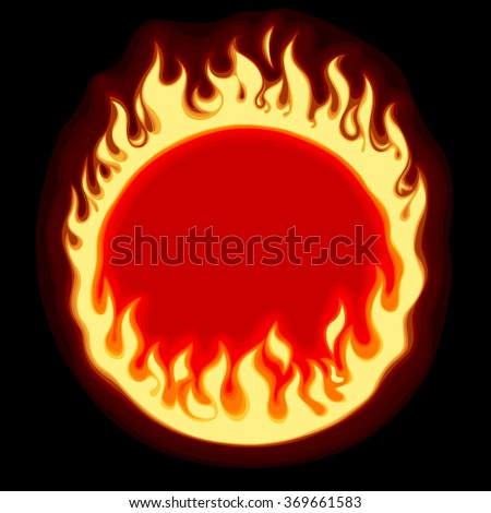 Fiery ring banner and frame on black background. Vector illustration